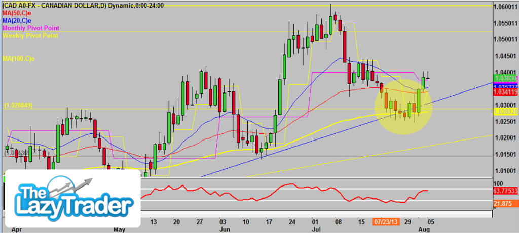 USDCAD July Trade Outcome 2013