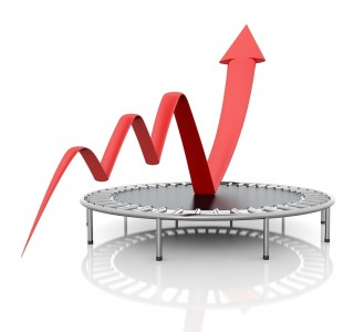 Business growth red graphic relaunched with a trampoline on a white isolated background. Company rescue.